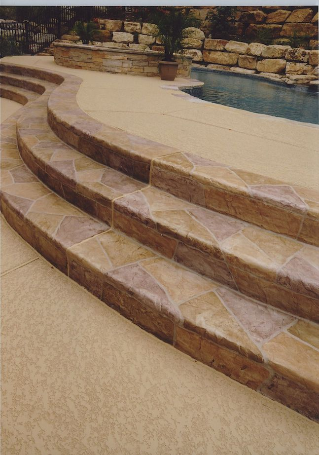 stamped pool deck surround
