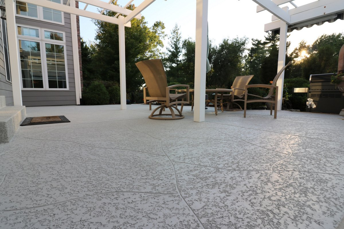 concrete patio with knocked down finish
